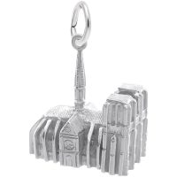 side view of silver Notre Dame charm